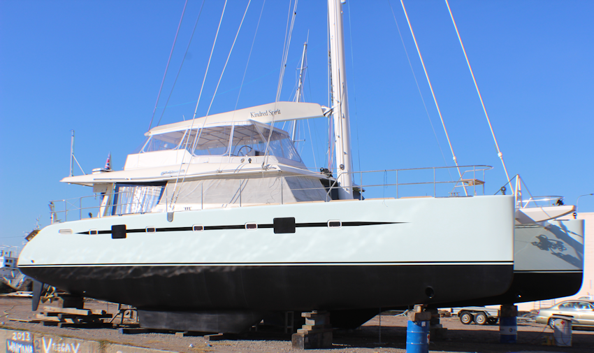 Kindred Spirit Sunreef 62 Catamaran at Hutcheson Boat Builders